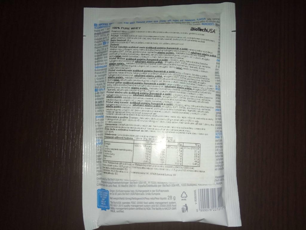 100% Pure Whey Protein - recenzia - zloženie